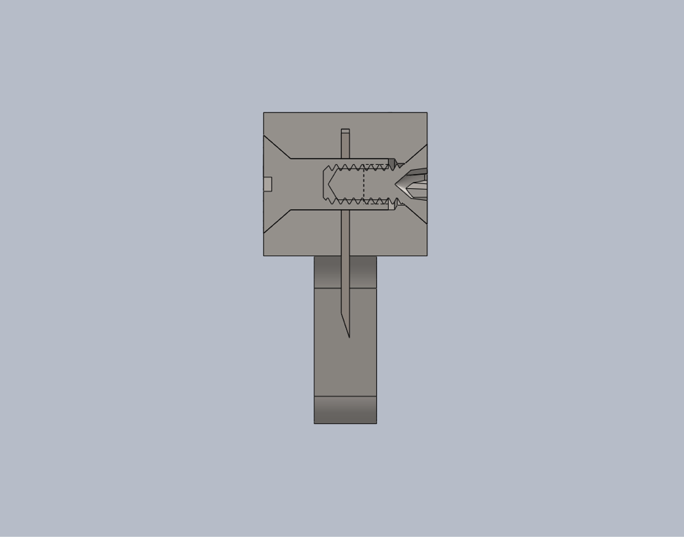 CAD Section View of Blade Holder Assembly