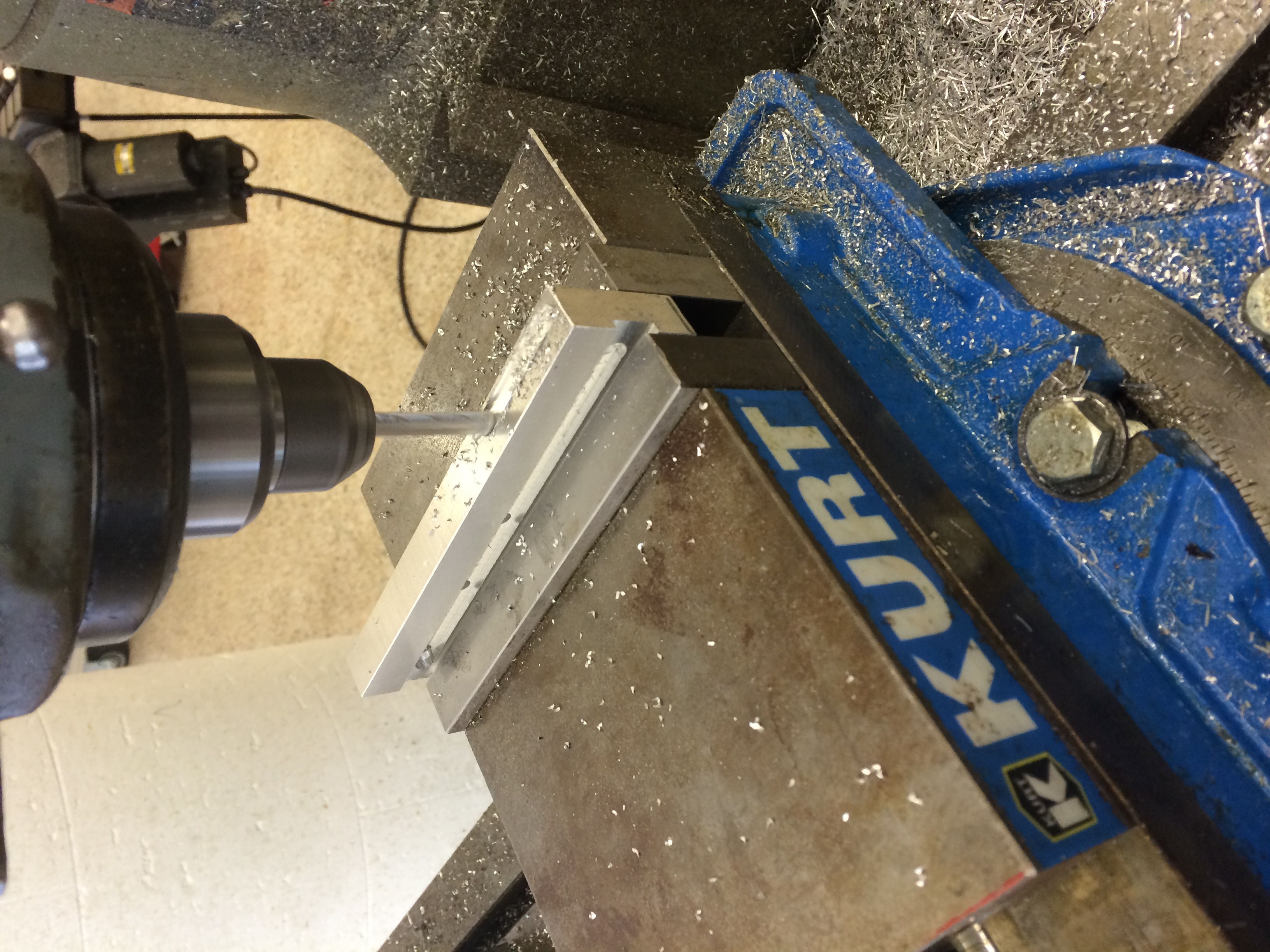 """Milling the horizontal slot. This took forever. I had to use .025"""" passes just to get an acceptable finish."""