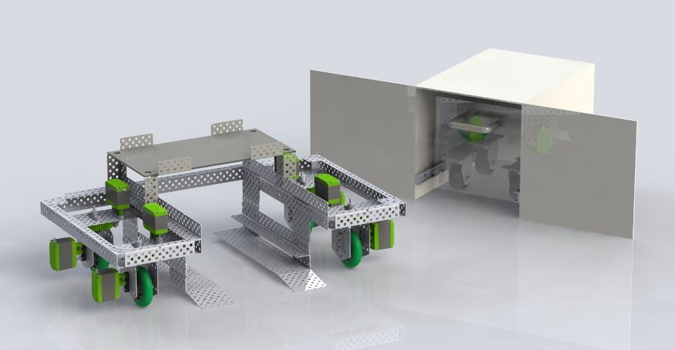 Rendering of the prototype robot, cubicle, and breaker.