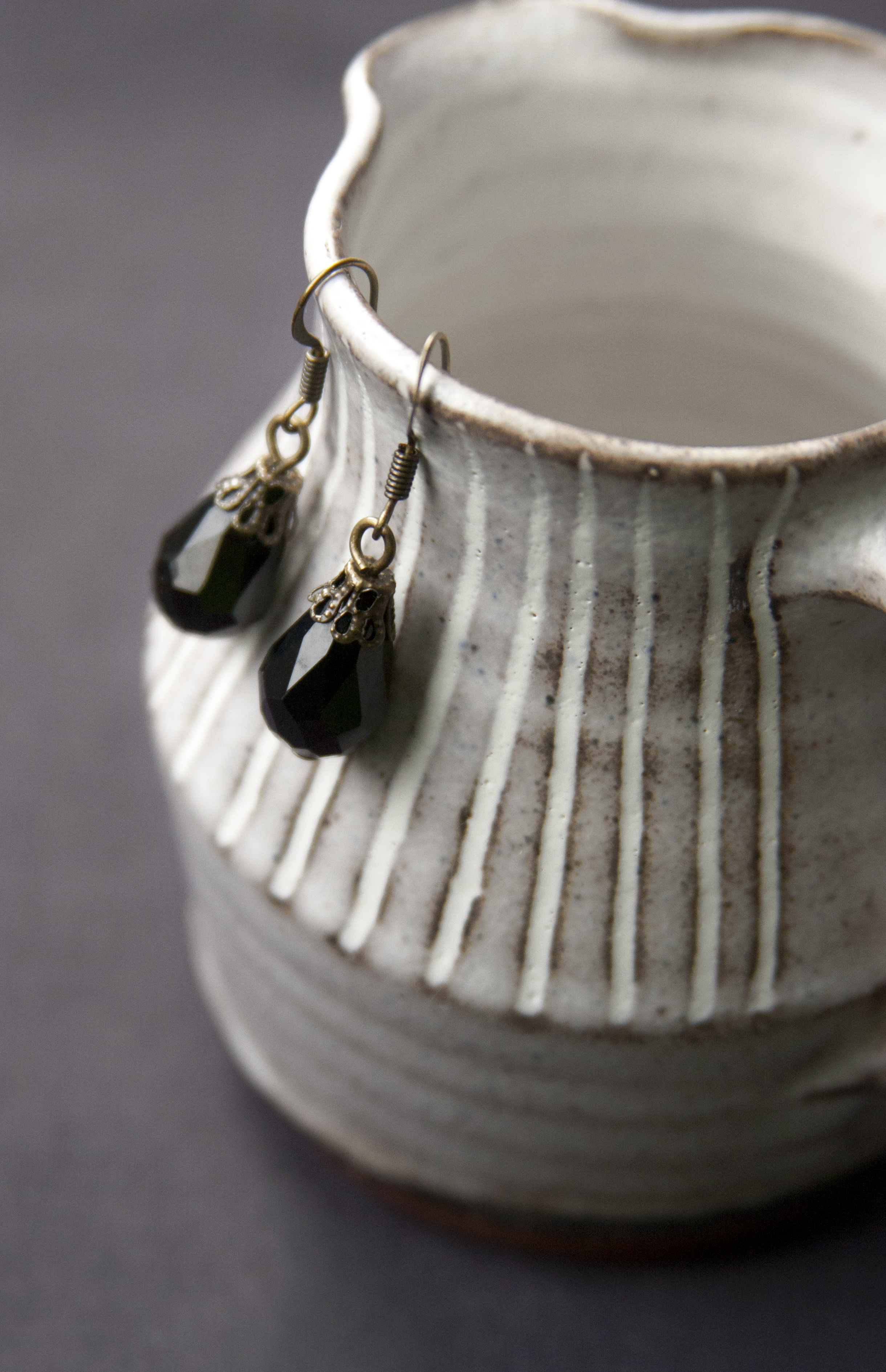 BAC for Renee antique brass and black bead earring - teardrop 1.jpg