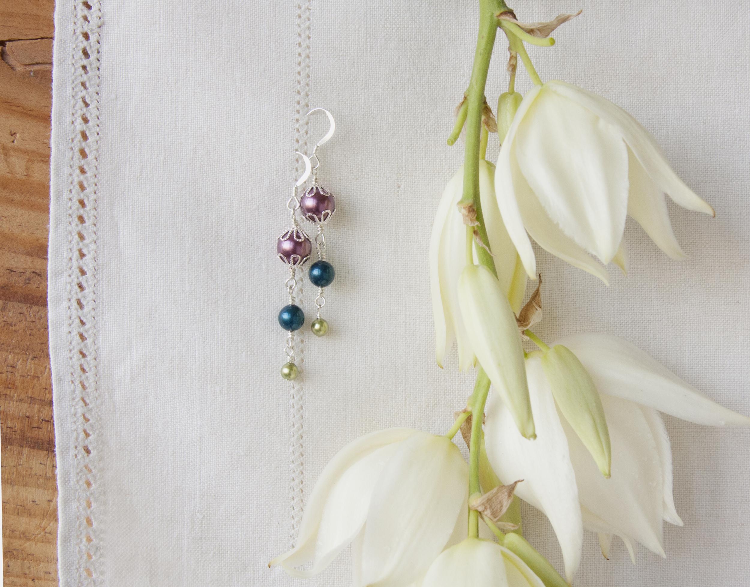 BAC for Jennifer 1 purple dark teal green pearl earrings 1a.jpg