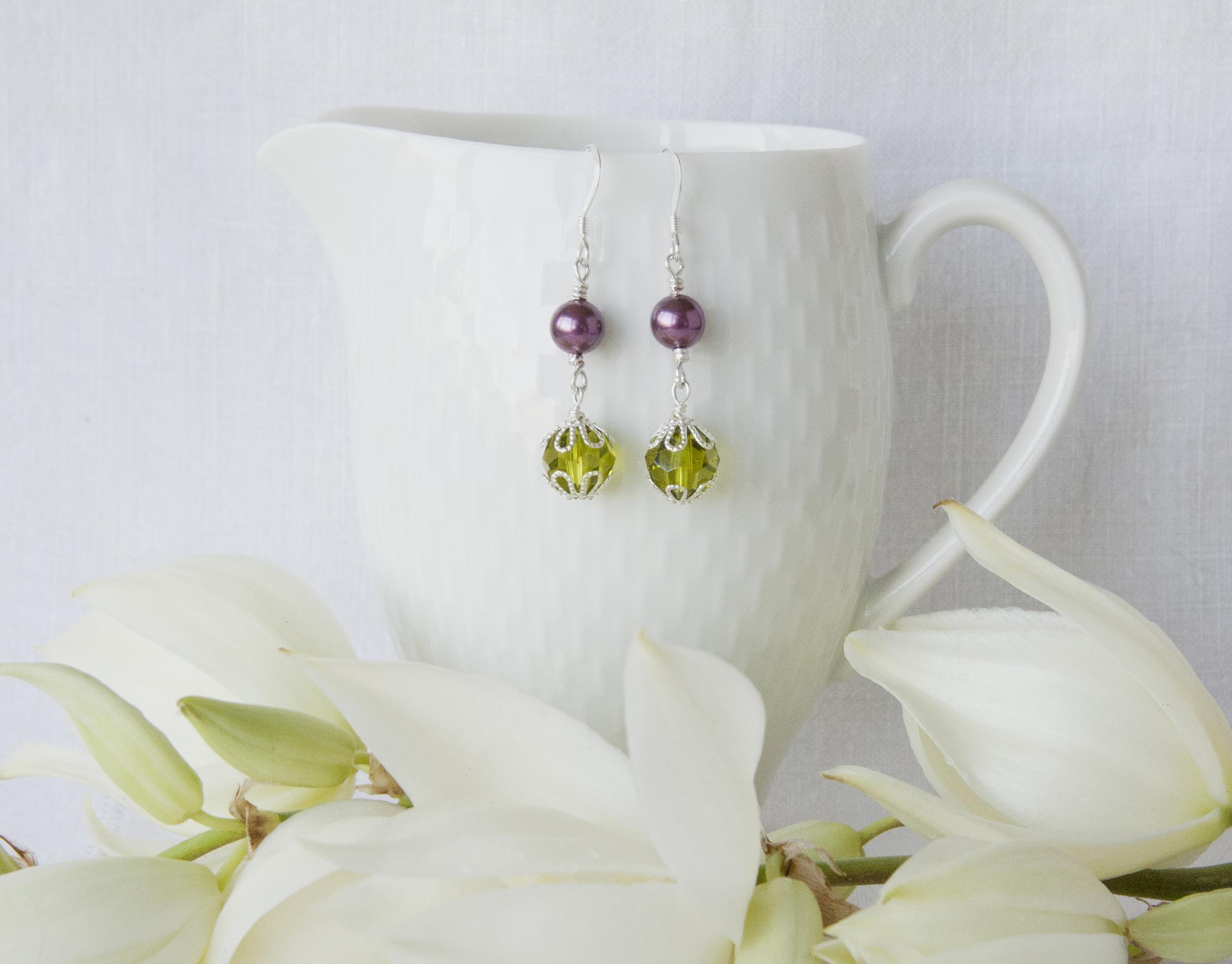 BAC for Jennifer 3 green gem violet pearl earrings 1b.jpg