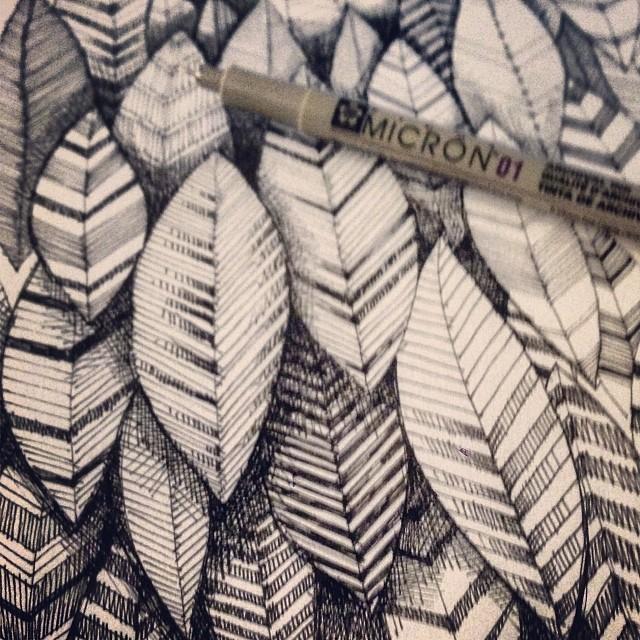 Leaves, ink, 2014