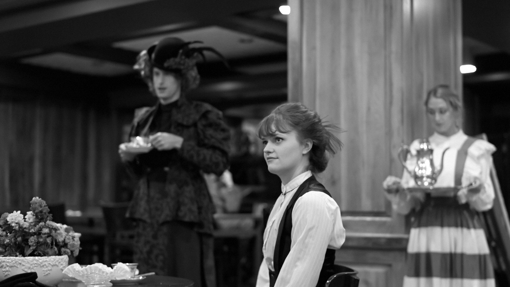 The Earnest Project  October 2013  Adam Carpenter (Lady Bracknell), Taylor Fisher (Gwendolen Fairfax), Kelsey Glasser (Merriman)  Photo by Shinyume