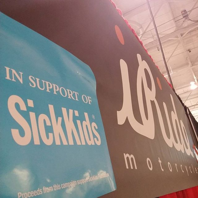 100% of our sales this weekend will go to SickKids.  #toronto #motorcycle #spring #show #swag #fashion #iride #iridemotorcycles #sickkids. #fundraiser