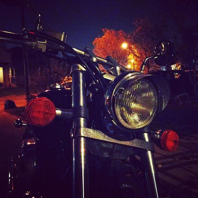 Chrome on Autumn night.  #motorcycles #chrome #motorbike #honda #light #night #moto