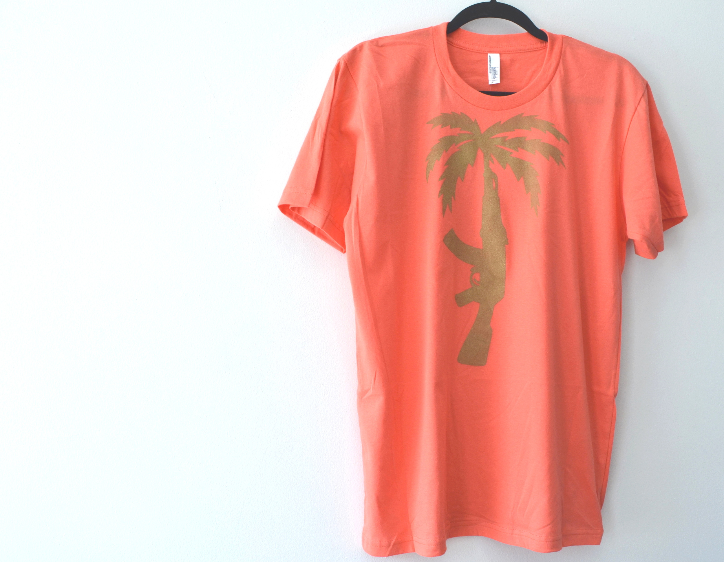 hand stenciled tree shirt