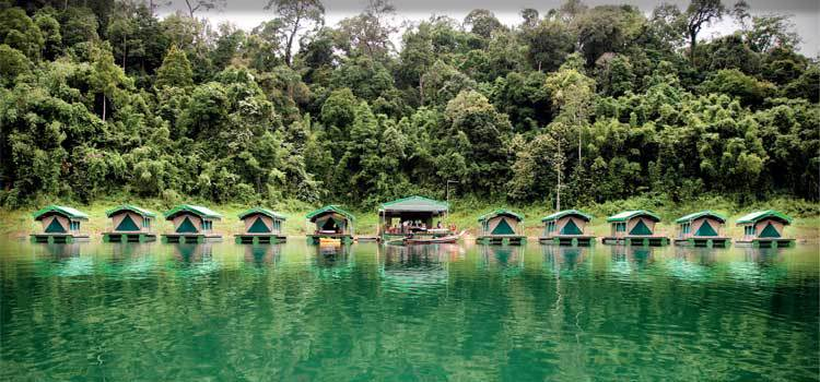 Luxury floating tents at Jungle Lake camp