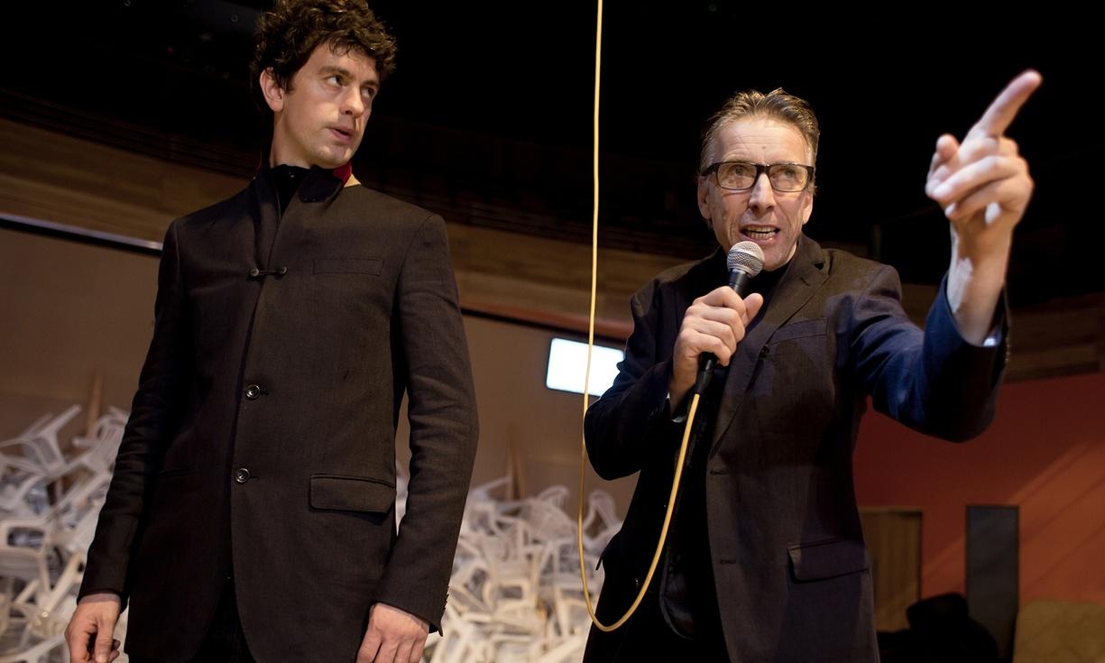 Richard Lynch and Llion Williams in Iliad. Photograph: Farrows Creative/National Theatre Wales