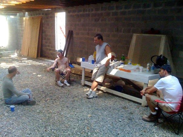 Jim Reilly, Derek Wilson, Joe Discher, Patrick Toon. Break time. Photo by Jay Leibowitz.