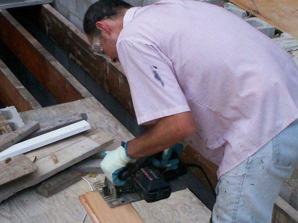 Patrick Toon cuts lock-deck.