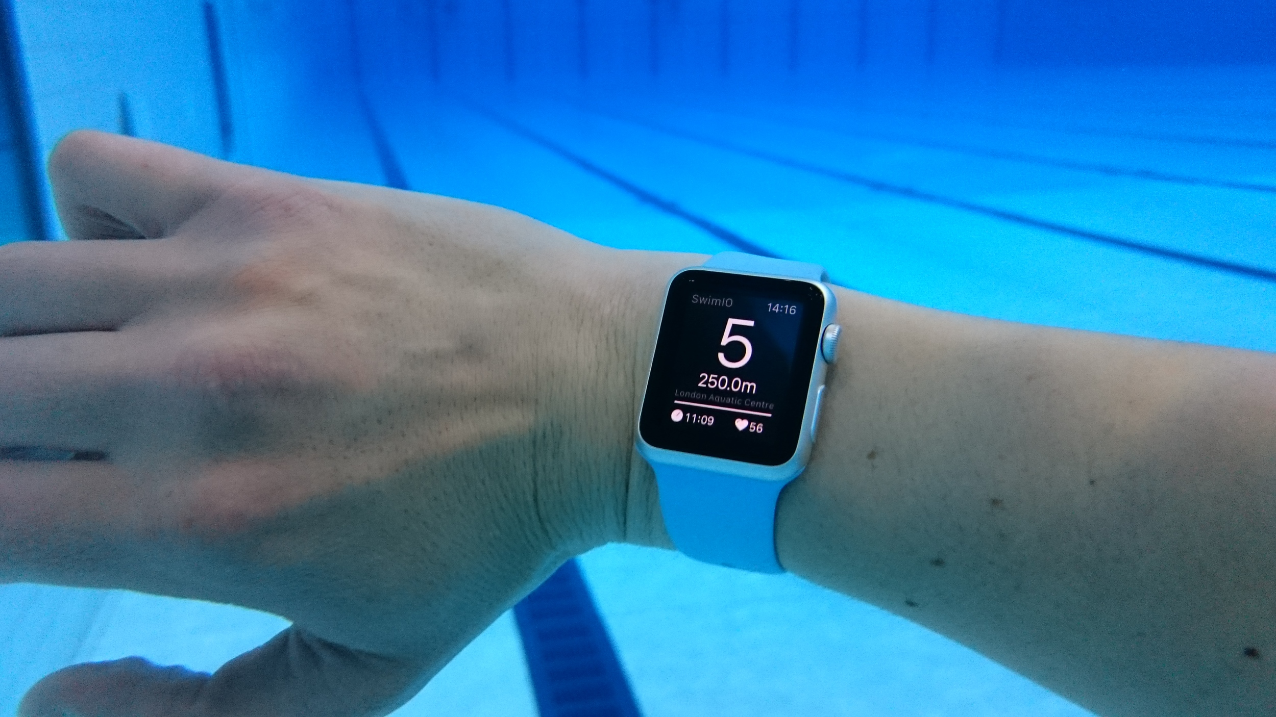 The Apple Watch screen is fantastically visible underwater.... even with fogged up goggles.