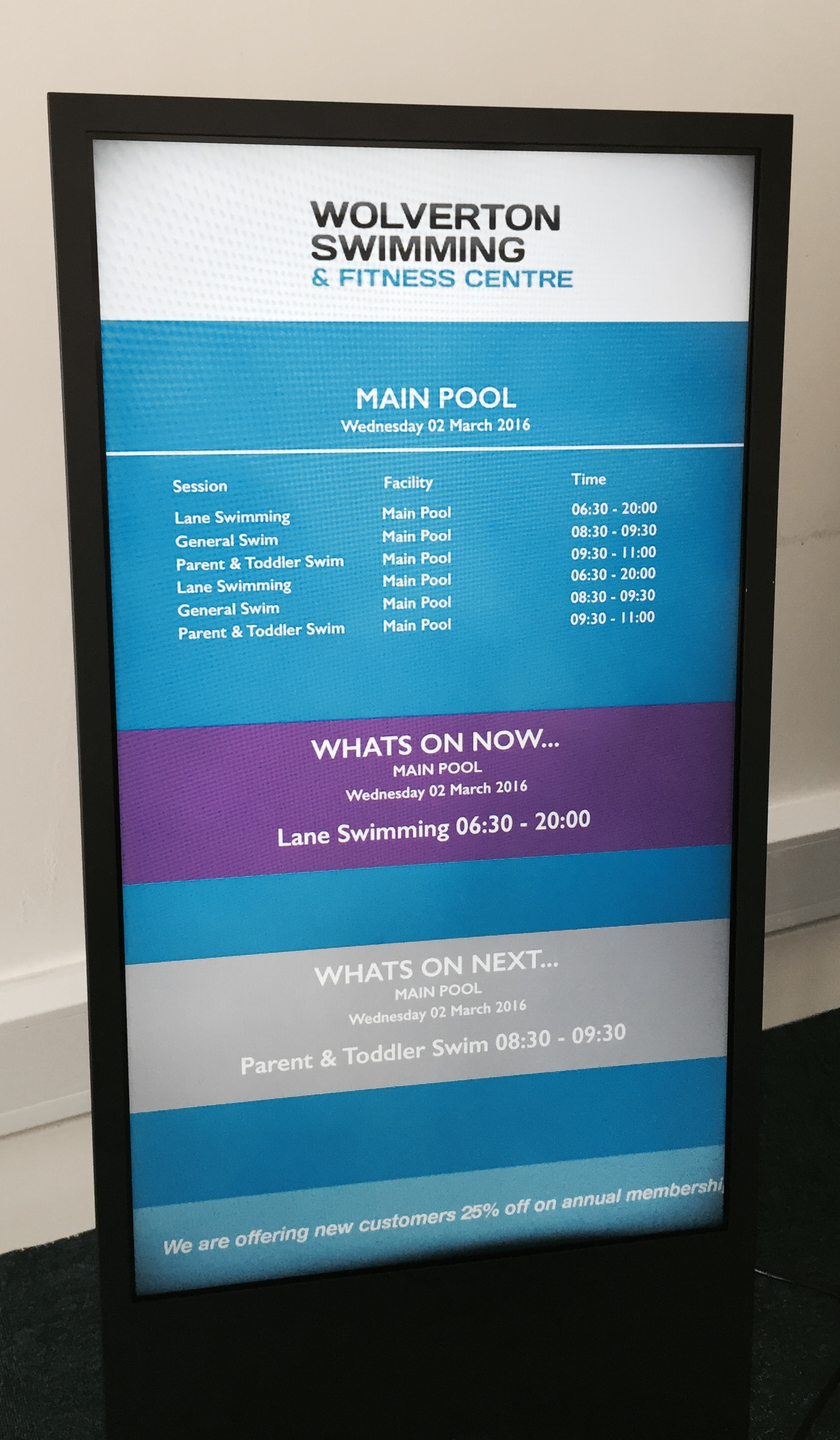 Wolverton Pool Reception Digital Screen
