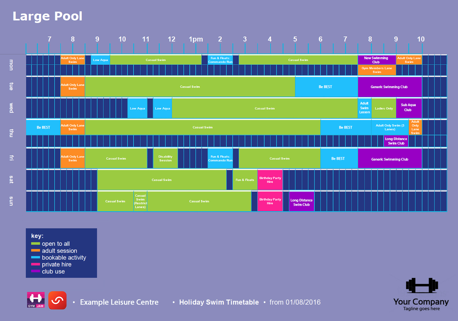 Swimming Print Timetable