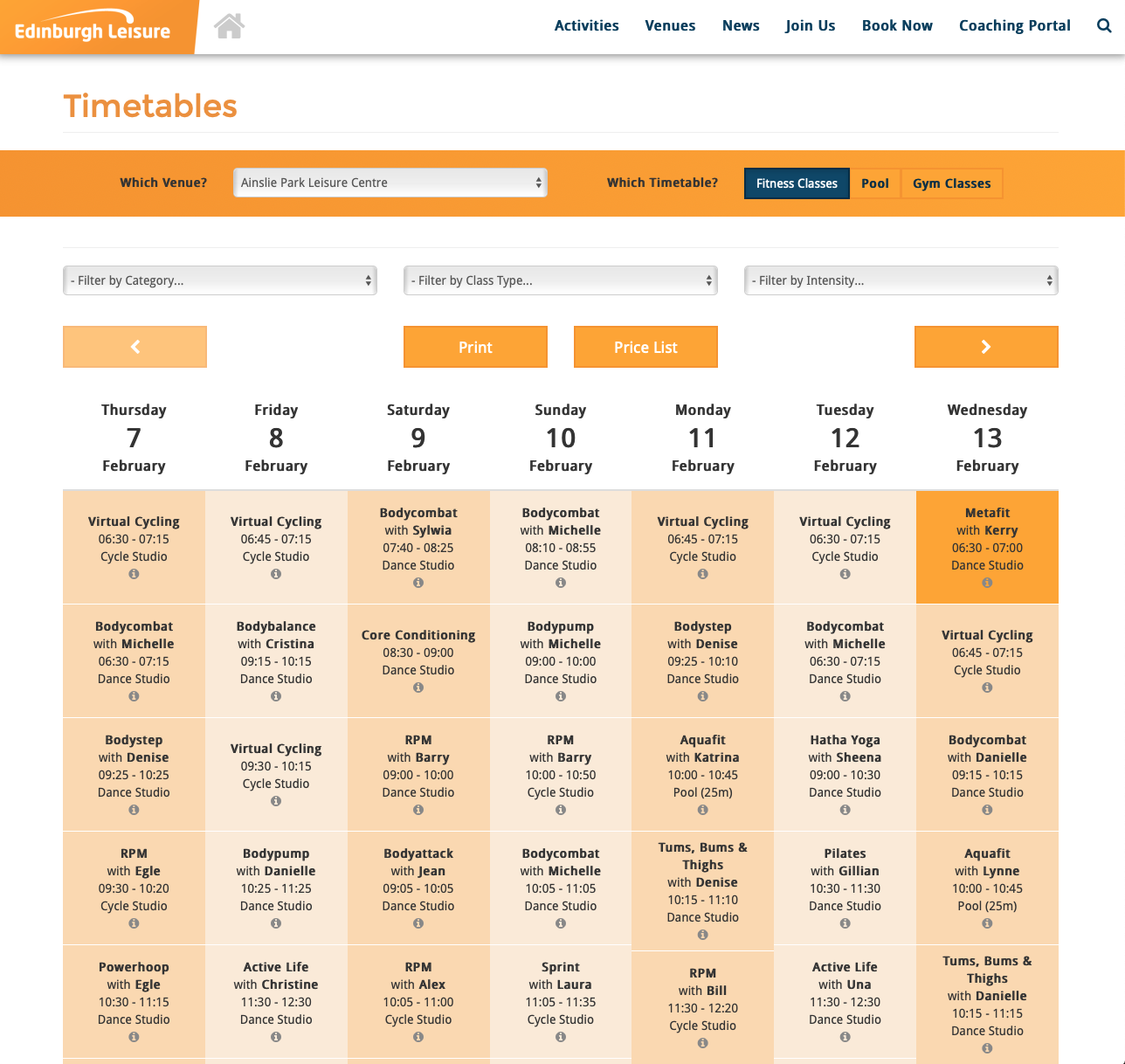 Fitness Timetables