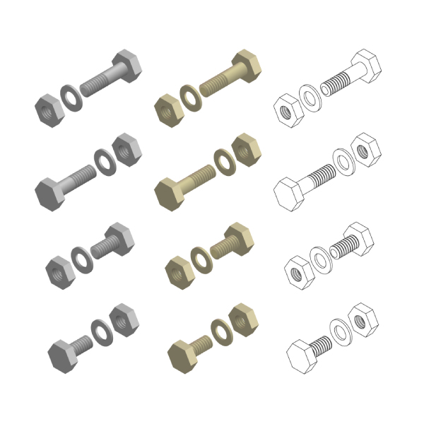 Nuts Bolts Washers Hardware Isometric Set