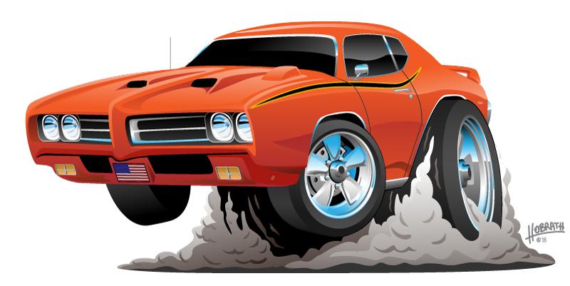 Classic American Muscle Car Cartoon Vector Illustration