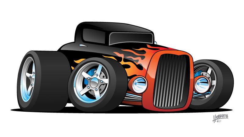 Hot Rod Classic Coupe Custom Car Cartoon Vector Illustration