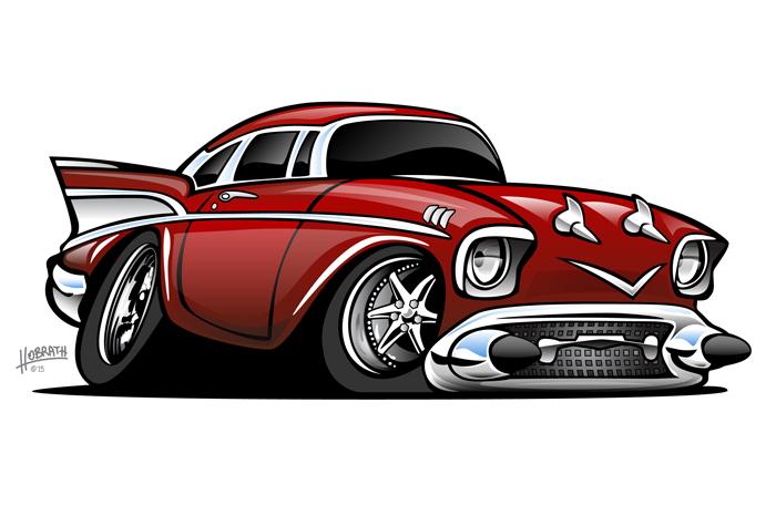 Classic American Hot Rod Cartoon Illustration
