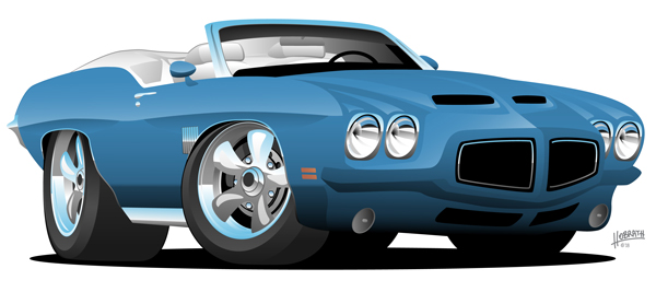 Classic Seventies Style American Convertible Muscle Car Cartoon Vector