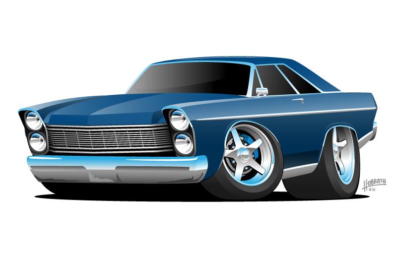 Classic Sixties Style Big American Muscle Car Cartoon Vector Illustration