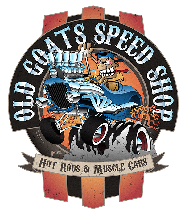 Old Goats Speed Shop Vintage Car Sign Cartoon