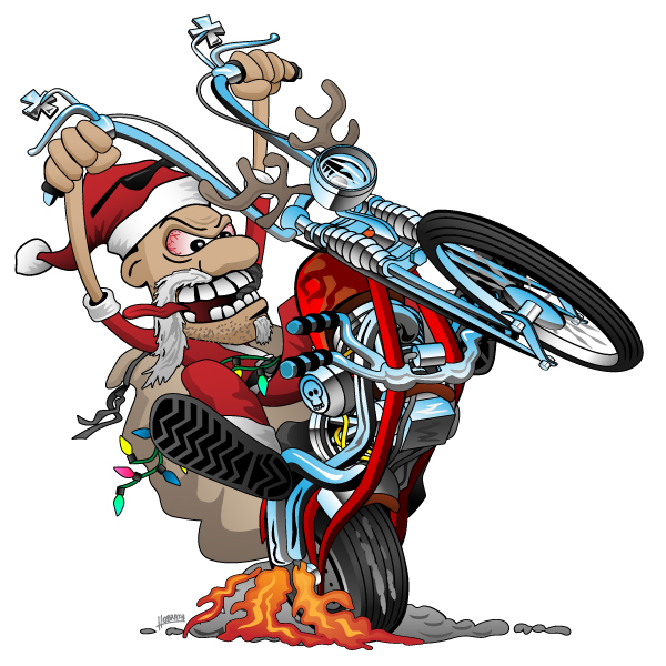 Biker Santa on a chopper cartoon illustration