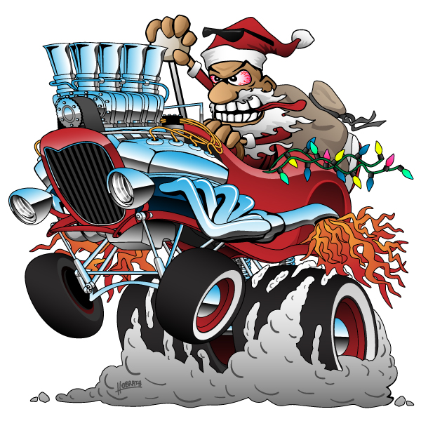 Hot Rod Santa Christmas Cartoon