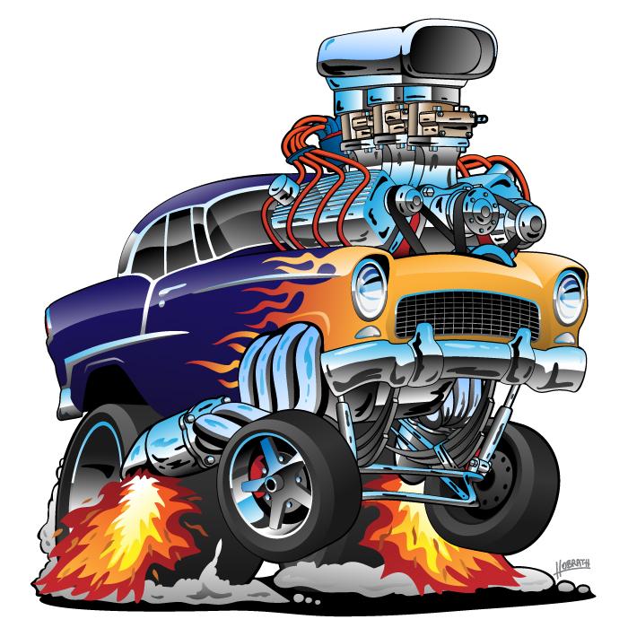 Classic '55 Hot Rod Muscle Car Cartoon