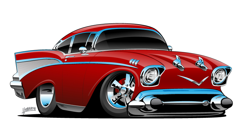 Classic hot rod 57 Chevy Bel Air muscle car, low profile, big tires and rims, candy apple red, cartoon vector illustration