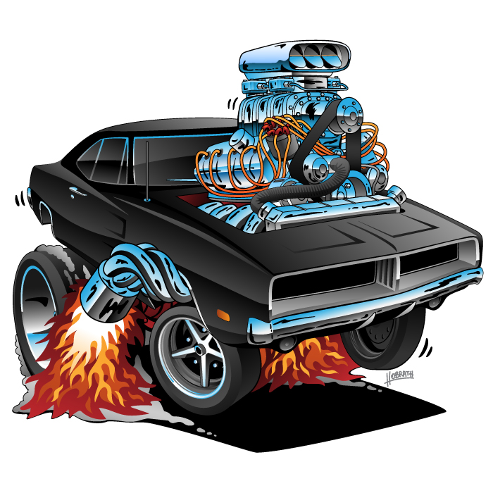 Classic 69 Charger Hemi American Muscle Car Cartoon