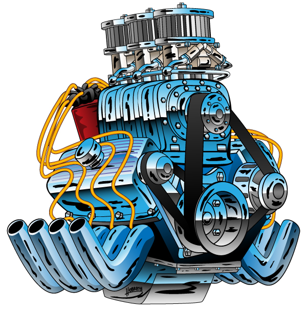 Hot Rod Race Car Dragster Engine Cartoon Illustration