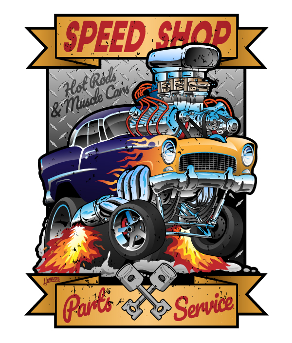 Speed Shop Hot Rod Muscle Car Parts and Service Vintage Cartoon Illustration