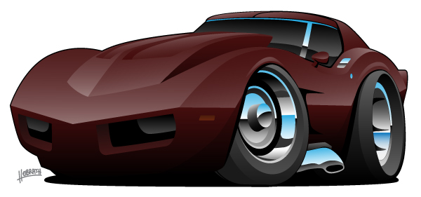 Classic Seventies American Corvette Sports Car Cartoon Isolated Vector Illustration