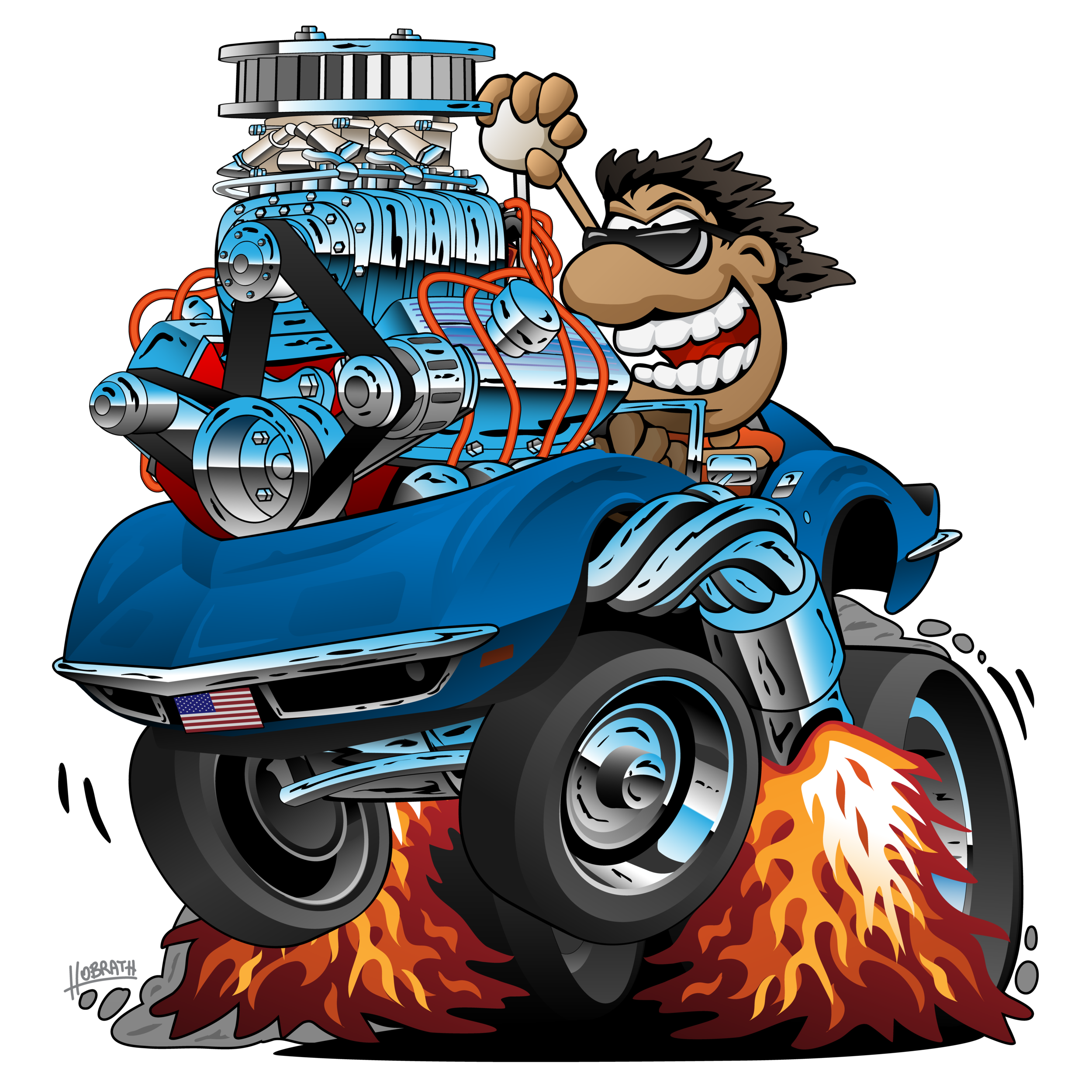 Classic Sports Car Cartoon, Funny Driver, Isolated Vector Illustration