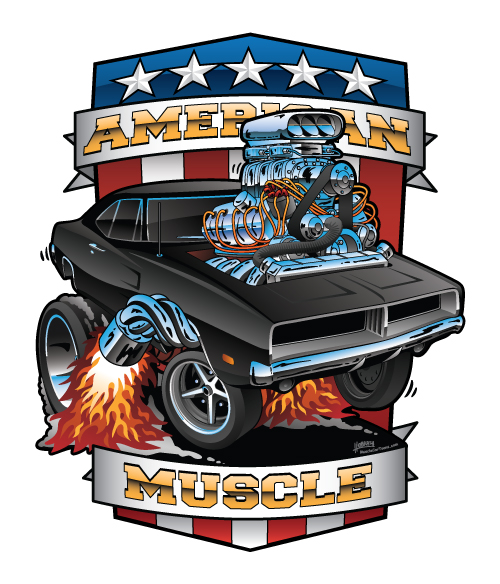 American Muscle Patriotic Classic Muscle Car Cartoon Illustration