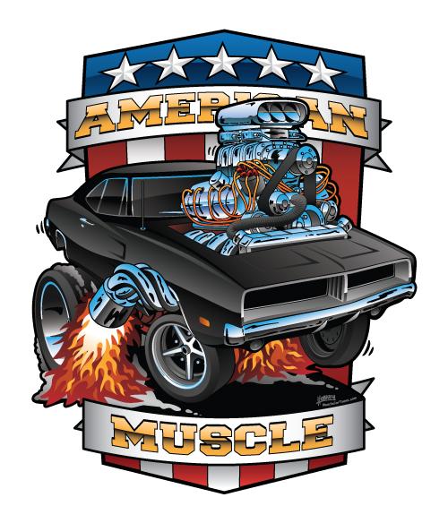 American Muscle Patriotic Classic Muscle Car Cartoon Illustration