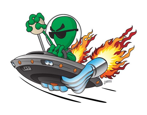 UFO Alien Hot Rod Cartoon Illustration