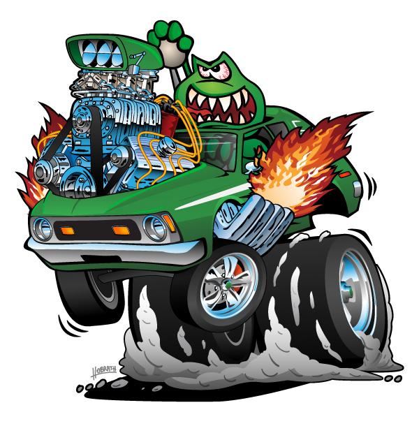 Seventies Green Gremlin Hot Rod Funny Car Cartoon