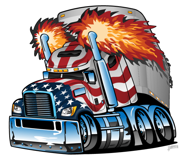 Patriotic American Flag Semi Truck Tractor Trailer Big Rig Cartoon