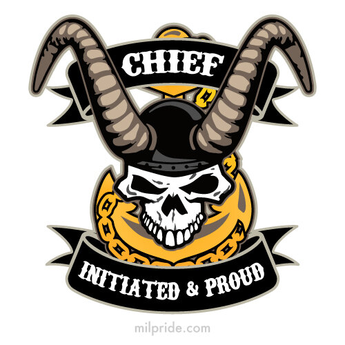 Navy Chief - Initiated and Proud with Skull, Old Goat Horns and Anchor