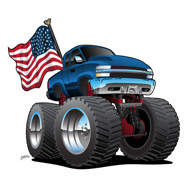 Monster Pickup Truck with USA Flag