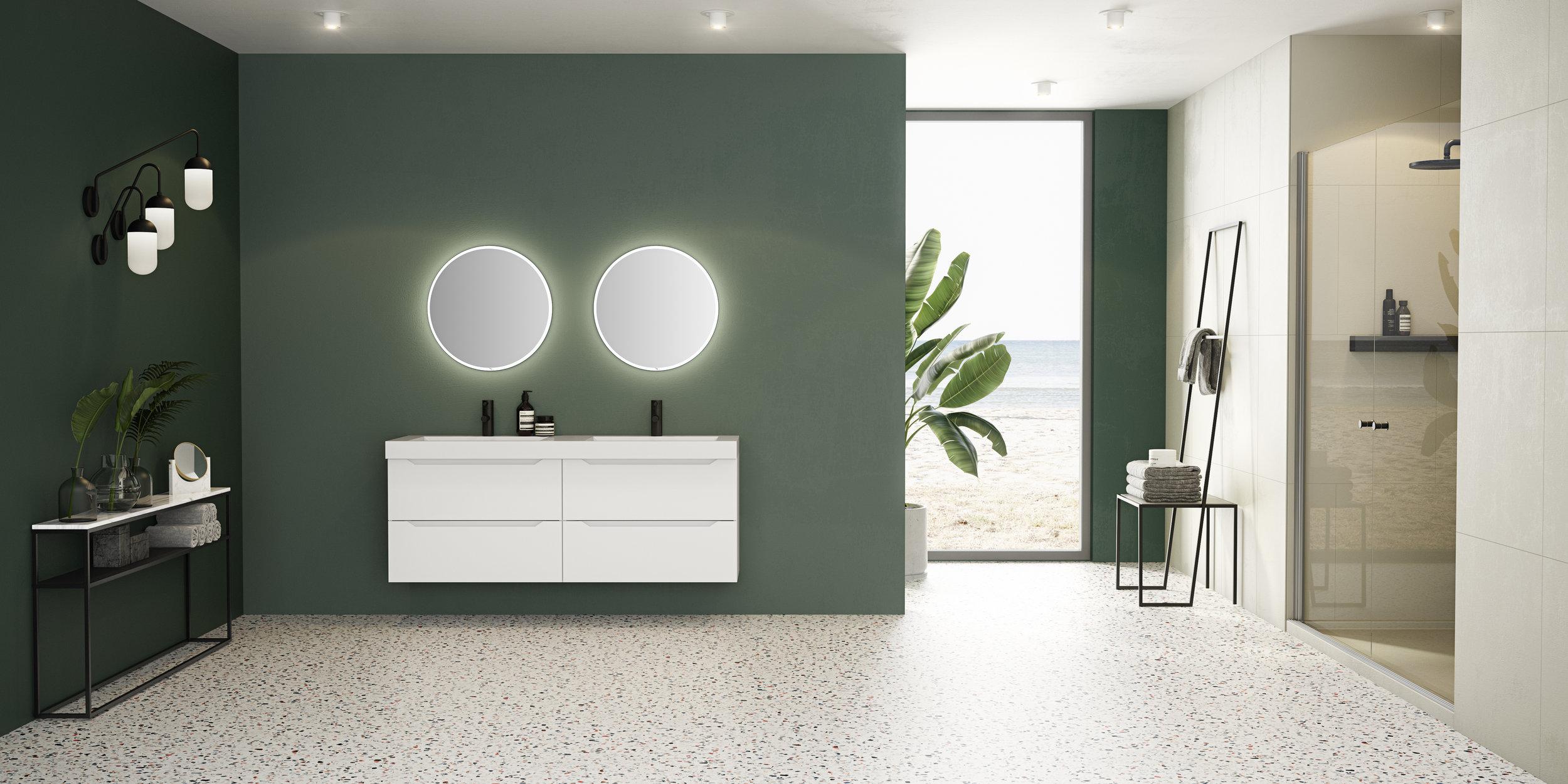 601. Emma kvit matt 160 cm med FINDEN speil 2 x 60.jpg