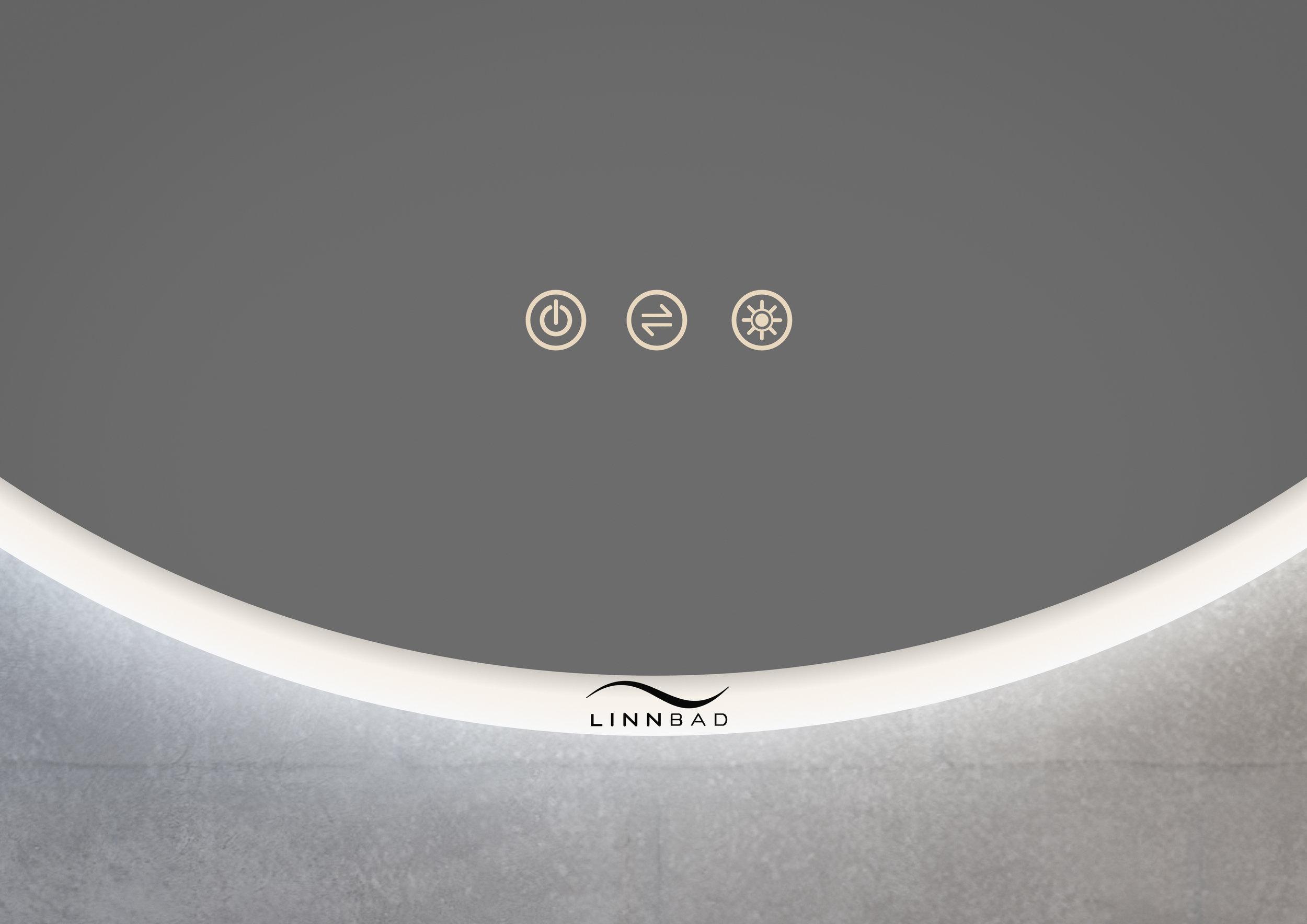 FINDEN rundt speil med brøringspanel har ulike funksjonar - dimmer, av/på, regulering av fargetemperatur og hukommelse