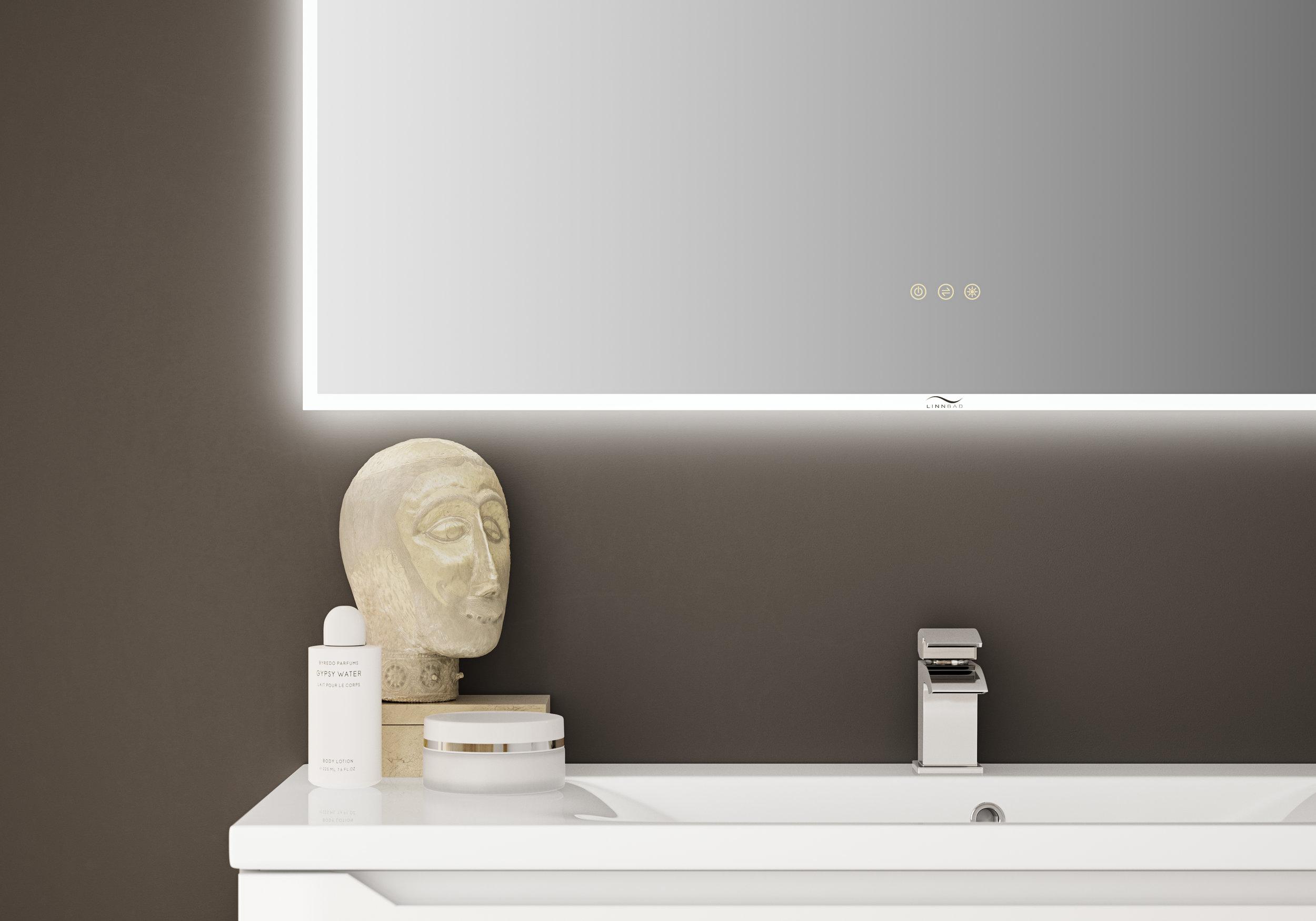 FRAMFJORD speil med brøringspanel har ulike funksjonar - dimmer, av/på, regulering av fargetemperatur og hukommelse