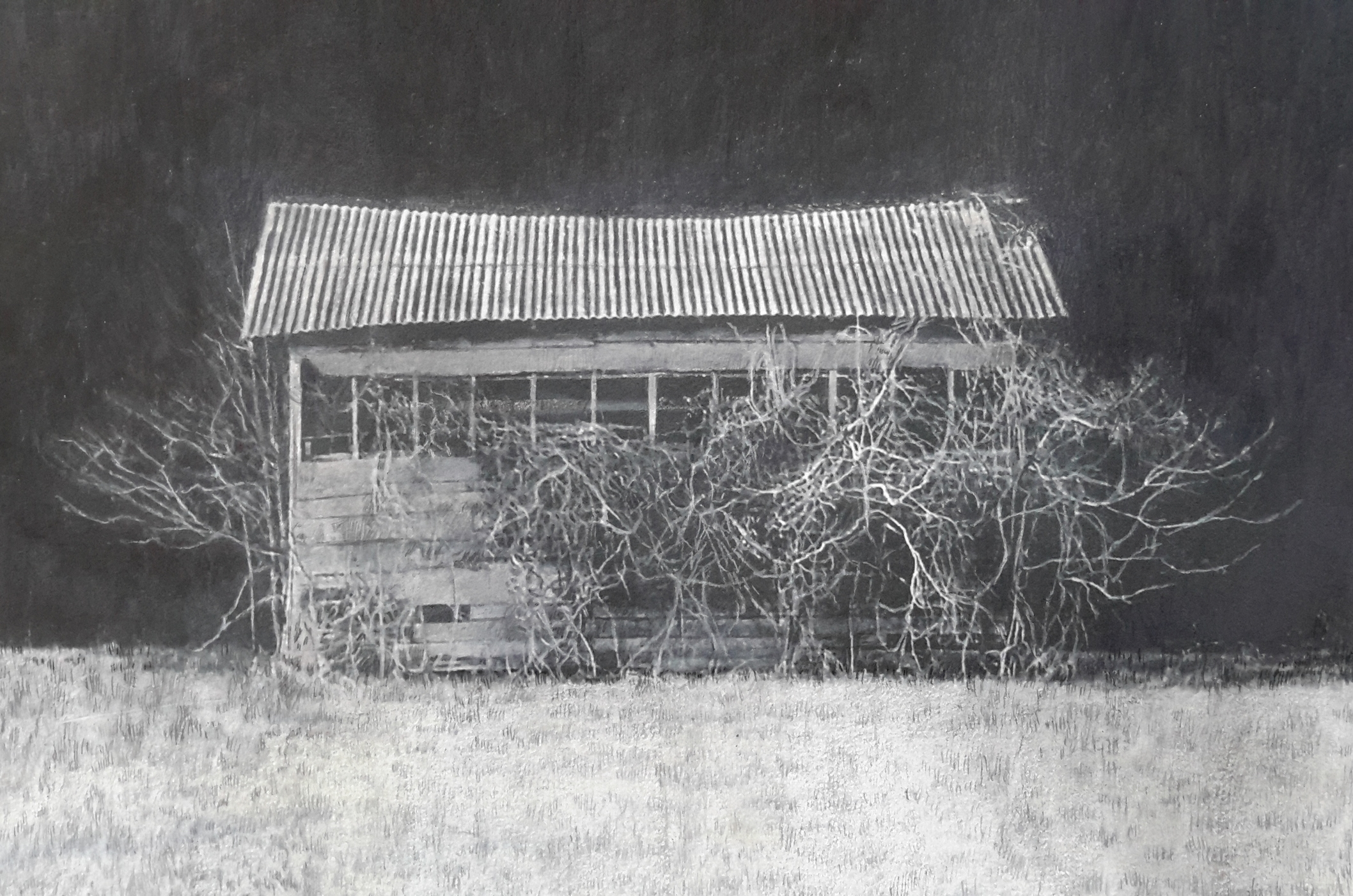 lisa qualls,  near mer rouge in winter , 2015. carbon transfer, colored pencil, and acrlyic on paper mounted on panel, 9 x 12 inches.
