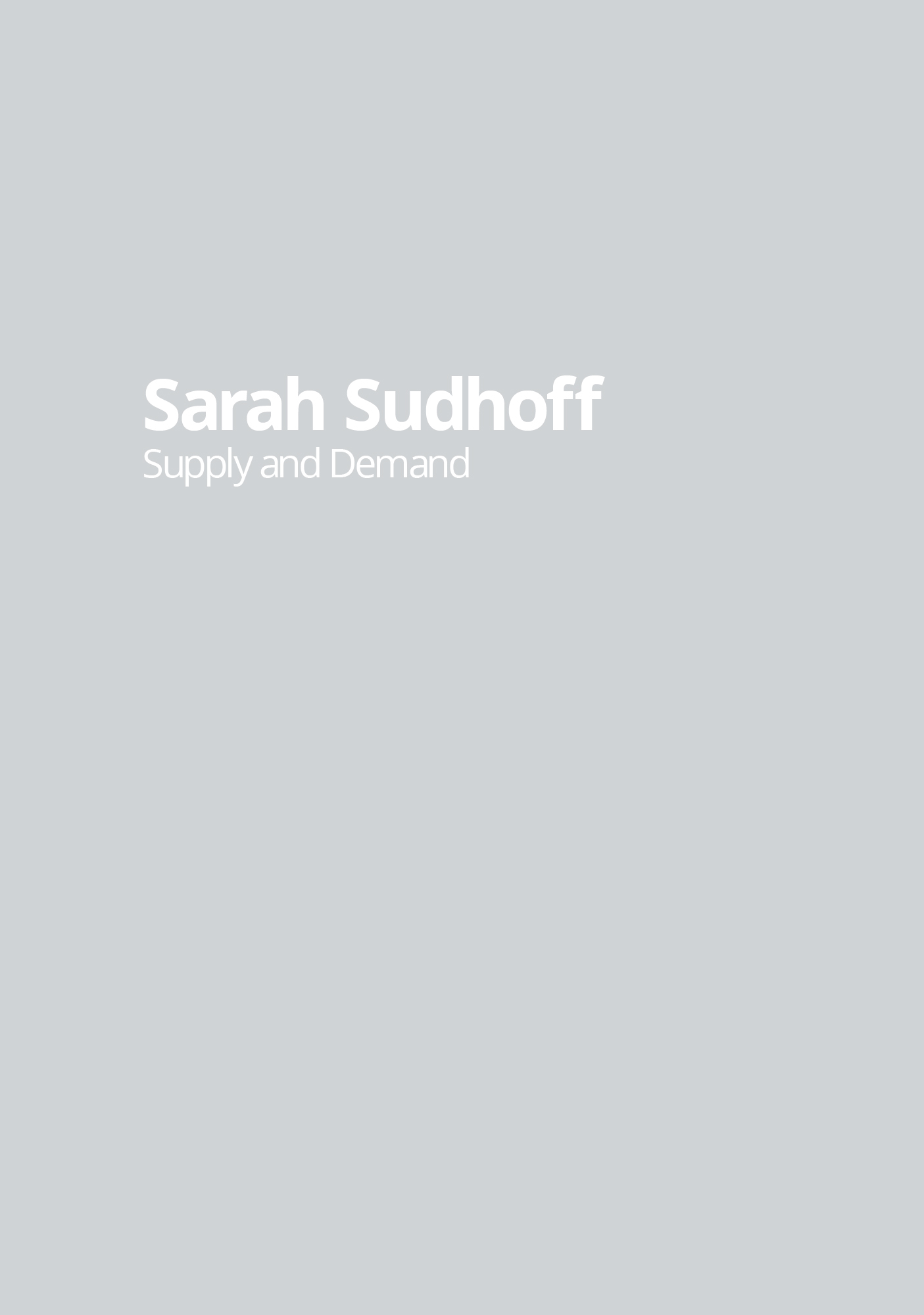 SARAH SUDHOFF  Supply and Demand  2014