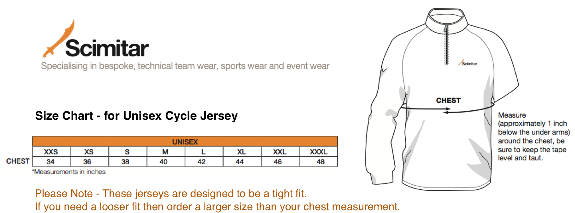 Scimitar Jersey Sizing Chart for Velo Club de VIS Jersey Orders.