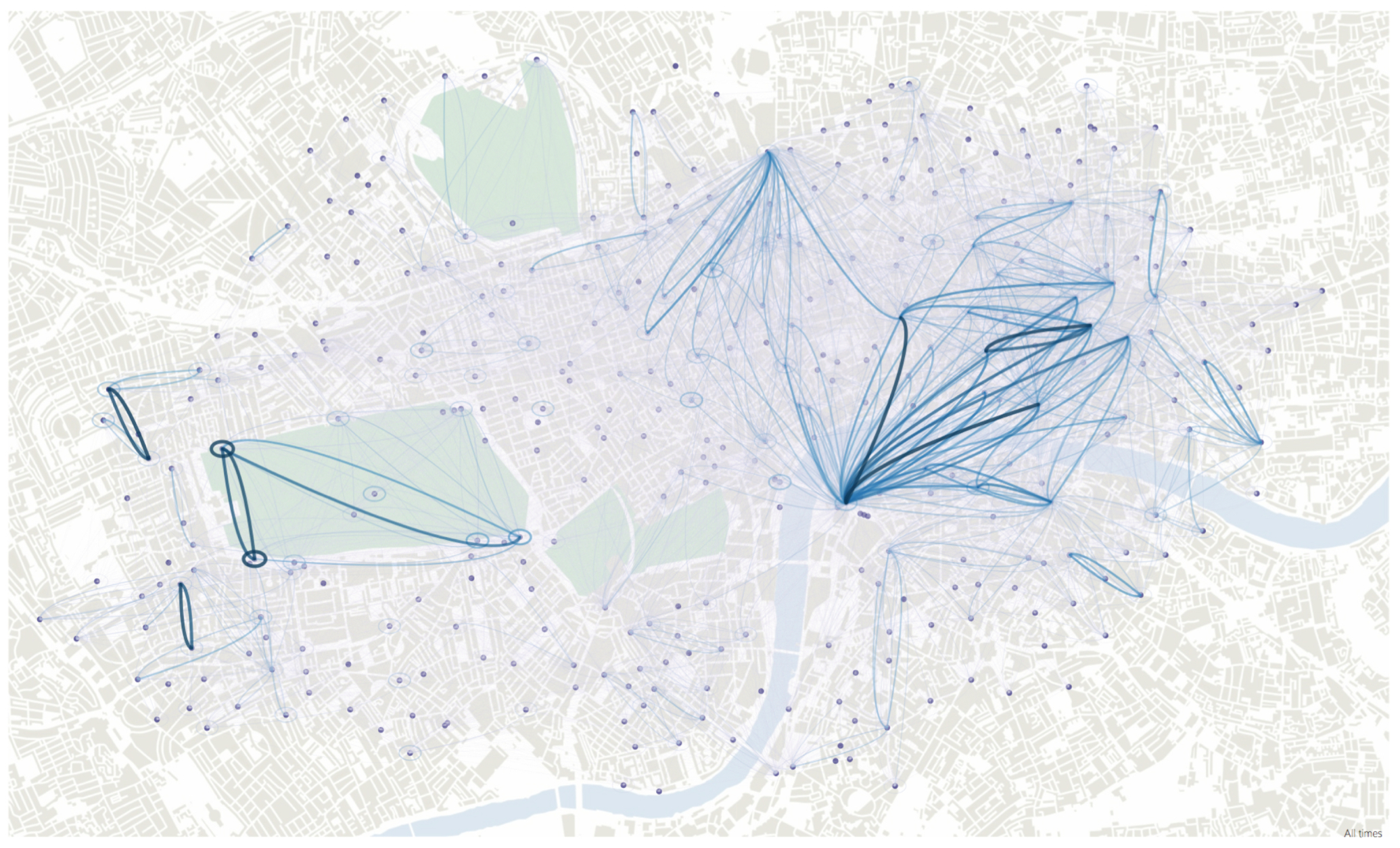 Fig 1a. Bezier curve flow map showing journeys made between docking stations of the London Cycle Hire Scheme between 21st September – 20th October 2011. The overall structure of scheme usage is emphasised. Figure previously appeared in Wood et al. (2011).
