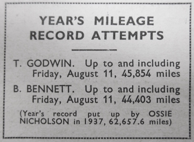 Weekly mileage update from  Cycling  magazine, 1939.
